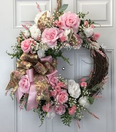 Pink Rose Wreath, Spring Wreath, Easter Wreath, Rose ...