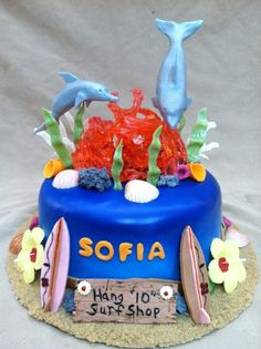 Dolphins and Surfboards Birthday Cake