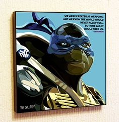 Leonardo Ninja Turtles Cinema Artist Actor Decor Motivational Quotes Wall Decals Pop Art Gifts Portrait Framed Famous Paintings on Acrylic Canvas Poster Prints Artwork Geek Decor Wood ** Check out this great product.