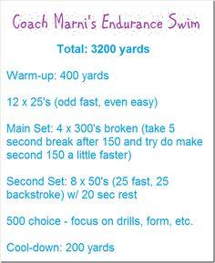 3200 yd (1.8 mi) swim workout