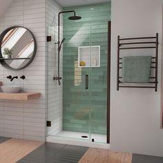 DreamLine Unidoor-LS H x to W Frameless Hinged Satin Black Shower Door (Clear Glass) at Lowe's. The DreamLine Unidoor-LS is a frameless swing shower door designed with modern market trends in mind. The elegant design coupled with the wide range of Dreamline, Black Shower, Chrome Shower Door, Door Installation, Bathrooms Remodel, Door Design, Frameless Shower Doors, Frameless Hinged Shower Door, Aluminum Wall