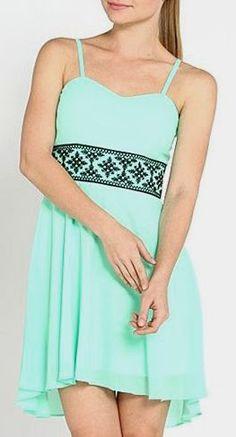 Mint Sheer Tribal Embroidery Sleeveless Dress