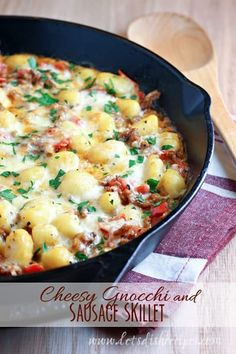 Cheesy Gnocchi and Sausage Skillet: Tender gnocchi pasta with Italian sausage and cheese cooks up in one skillet for a quick and easy meal! Sausage Skillet Recipe, Skillet Meals, Sausage Recipes, Cooking Recipes, Skillet Recipes, Casserole Recipes, Sausage Dip, Skillet Cooking, Pasta Casserole