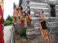**Flags in an old barrel, old crock, old planter or urn...nothing better to show off Old Glory & our Patriotism!**