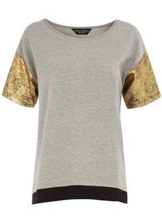 Dorothy Perkins Foil Sleeve Sweat Shirt