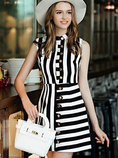 White Black Striped Stand Collar Sleeveless Dress