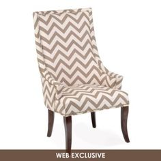 Taupe Ivory Chevron Accent Chair