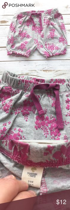 Tucker + Tate Nordstrom [girls] Gray floral Shorts Worn once. No damage. Gray with pink flowers. Drawstring through waist. Size 24 months. Relaxed fit. Tucker + Tate Bottoms Shorts