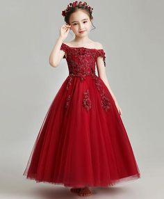 Burgundy tulle lace flower girl dress, burgundy girl party dress You are in the right place about fl Red Dresses For Kids, Fall Formal Dresses, Dress Flower, Blush Flower Girl Dresses, Gowns For Girls, Girls Party Dress, Birthday Dresses, Little Girl Dresses, Modest Dresses