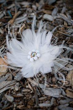 IRINA  White Feather Flower Hair Clip Fascinator by radokri, $75.00