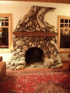 stone fireplace in a hobbit house Hobbit Hole, The Hobbit, Deco Originale, Fireplace Design, Mosaic Fireplace, Fireplace Stone, Log Homes, My Dream Home, Home Improvement