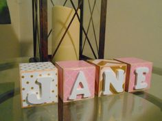 Pink and Gold Girl Personalized 2 Inch Name Wooden Belly Letter Blocks Baby Nursery Decor Newborn-Maternity Photo Shoot Prop- Pregnancy Gift by anniescraftcorner on Etsy https://www.etsy.com/listing/245068839/pink-and-gold-girl-personalized-2-inch