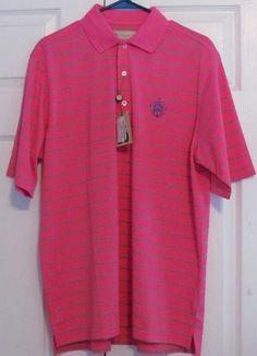 "Donald Ross Men's Golf Shirt, Medium, ""Flamingo/Green,Blue"", 100% Polyester, NWT #DonaldRoss"