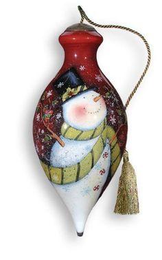 Snowman Handpainted Glass Ornament - Ne'Qwa Art
