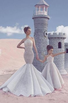 Most Gorgeous Wedding Dresses & Bridal Dresses Ideas 2019 - Page 40 of 50 - Soflyme Mommy Daughter Dresses, Mother Daughter Fashion, Mother Daughter Matching Outfits, Dresses Kids Girl, Cute Dresses, Beautiful Dresses, Girl Outfits, Flower Girl Dresses, Mother Daughters