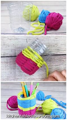 Use 100% recycled materials and learn basic weaving skills with this up-cycled plastic bottle craft.