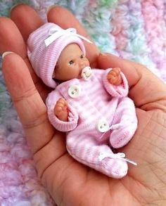 "Miniature OOAK hand SCULPTED 3.5"" newborn BABY girl clay ART doll NOT toy McLeod"