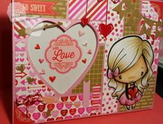 3D paper piecing on picture frame with the Greeting Farm Valentines Anya digi