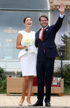 Prince Felix of Luxembourg and Claire Lademacher's civil wedding ceremony in September 2013. Claire wore a dress by Jan Taminiau.
