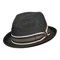 eae97d734a0f5 Men s Scala MS32 Vent Crown Braided Fedora - Black Hats Mens Activewear