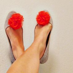 etsy option for shoe clips!    Fabric Flower Shoe Clips  Pumpkin Orange Chiffon by No144 on Etsy, $28.00