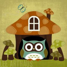 Retro Owl in Mushroom House from Lee Arthaus