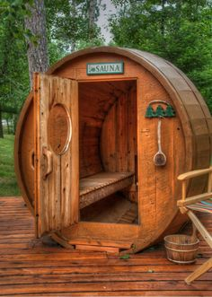 It is another day with ninety degree heat and 100% humidity.  Sauna weather.  Many of the older cabins in this area have saunas which their residents still use and dearly love.   This barrel-shaped sauna is near a rebuilt Scandinavian cottage on Williams Lake, Mn.