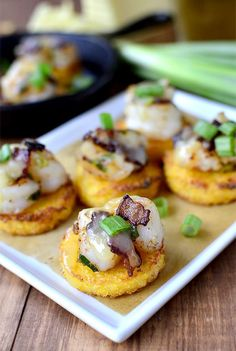 Smoked Cheddar Shrimp and Grits Bites are a bite-sized version of shrimp and grits. Perfect for parties!   iowagirleats.com