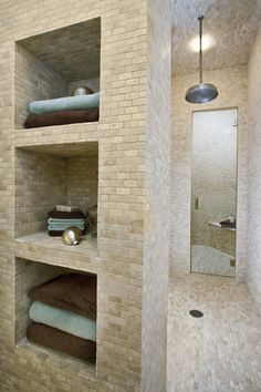 Walk-in shower with storage