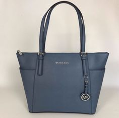 NWT Michael KorsJet Set Large Leather Shoulder Tote Blue Denim Handbag NEW #MichaelKors #TotesShoppers