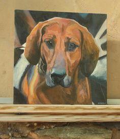 Original Painting Acrylic on Box Canvas Hound Dog Portrait
