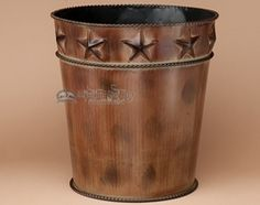 This is a rustic tin art waste basket for western, cabin or southwest decor. Designer waste baskets are perfect bath accessories for southwest style, western decor and lodge style. This trash bin can Western Lamps, Western Rooms, Western Bathrooms, Western Decor, Rustic Bathroom Decor, Bathroom Ideas, Restroom Ideas, Neutral Bathroom, Rustic Decor