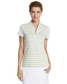 For AZ - Chico's Zenergy Golf Striped Mock Polo #chicos