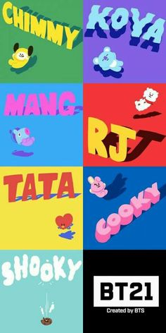 Koya by Rap Monster. RJ by Jin. Shooky by Suga. Mang by JHope. Chimmy by Jimin. Tata by V. Cooky by Jungkook. Jimin, Bts Bangtan Boy, Kpop, Taehyung, Namjoon, I Love Bts, My Love, Bts Gifs, Line Friends