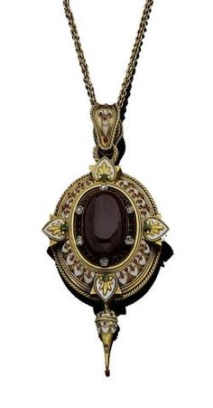 An enamel and gem-set pendant necklace, circa 1865. In the Holbeinesque style, centrally collet-set with an oval cabochon garnet, the border accented by rose-cut diamonds, to a white enamel border with circular orange paste accents, with highlights at the cardinal points, within a ropetwist frame, suspended from a double belcher-link chain.