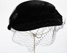 Vintage 1950s Black Velvet Hat With Birdcage Veil / 50s Cocktail Hat With Netting Rhinestones / Millinery / Mid Century Topper Evening Wear