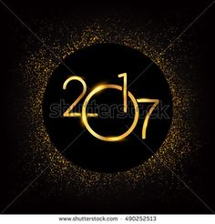 Happy New Year 2017 with glitter isolated on black background, text design gold colored, vector elements for calendar and greeting card