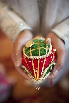 Red and Green Velvet Coconut Decoration