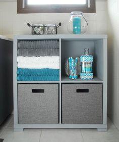Bathroom Storage Cabinet Makeover in gray, aqua and white. #ad