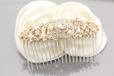 Gold Wedding hair accessories Gold Bridal hair comb by Amoretto