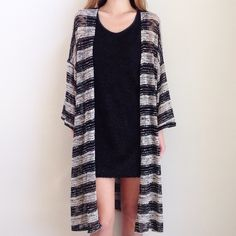 | new | long cardigan offers welcome new without tag size small long striped cardigan with open style and loose knit feel. •960844•  website: xomandysue.com instagram: xomandysue Sweaters Cardigans