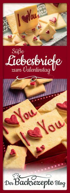 Liebesbriefkekse für einen verliebten Valentinstag. Sag mit einem liebevoll gestalteten Keks I Love You. Der Keks wird mit Herzen gestaltet und gebacken.