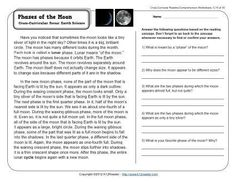 FREE Phases of the Moon printable reading comprehension worksheet for grades 2-3 www.k12reader.com