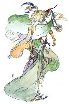 Final Fantasy IV - Sorceress Concept Art - Yoshitaka Amano