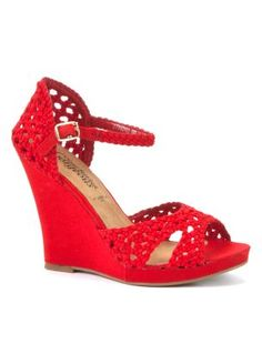 Red Crochet Wedge Sandals  www.newlook.com