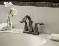 Eva oil rubbed bronze two-handle high arc bathroom faucet - 6410ORB - Moen