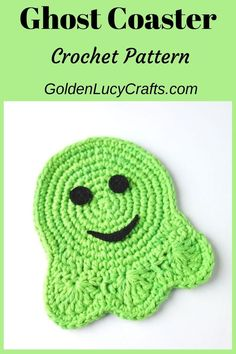 Crochet Ghost coaster, applique, Halloween decorations, crochet pattern, This crochet Ghost Coaster will be a perfect addition for Halloween table decoration. Crochet Fall, Holiday Crochet, Crochet Bear, Crochet Home, Diy Crochet, Crochet Crafts, Yarn Crafts, Crochet Projects, Crochet Placemat Patterns