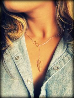 Angel Wing and Infinity Lariat new design gold by Keepitclose, $36.70
