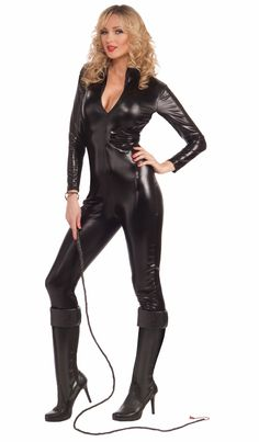 Sometimes, you just feel like cracking the whip. This sexy bodysuit costume does just the trick, and can also double as a sexy secret agent or Catwoman costume. Of course, you really don't ever need a reason to wear form-fitting black spandex.