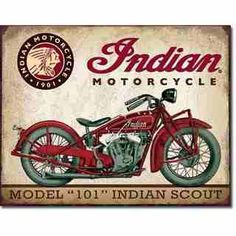 "x Metal ""Indian"" Motorcycle Model 101 Indian Scout Sign.Vintage look. Indian Scout, Motos Vintage, Vintage Indian Motorcycles, Vintage Bicycles, Images Vintage, Vintage Cars, Retro Vintage, Vintage Style, Fashion Vintage"